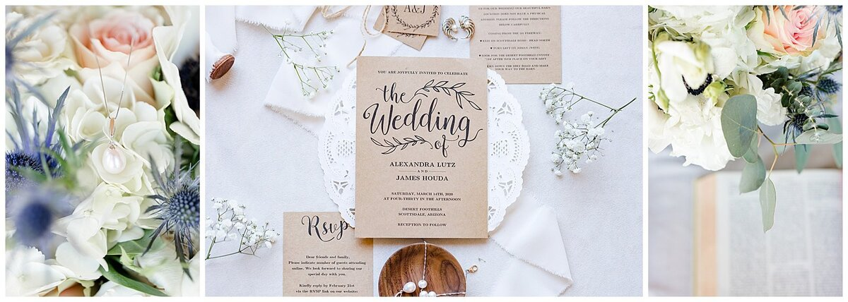 A trio of fine art images showing bouquets wedding invitations and jewelry