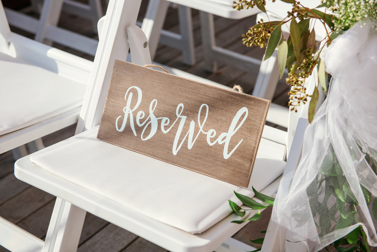 Reserved sign at a ceremony at Harbor Club at Prime