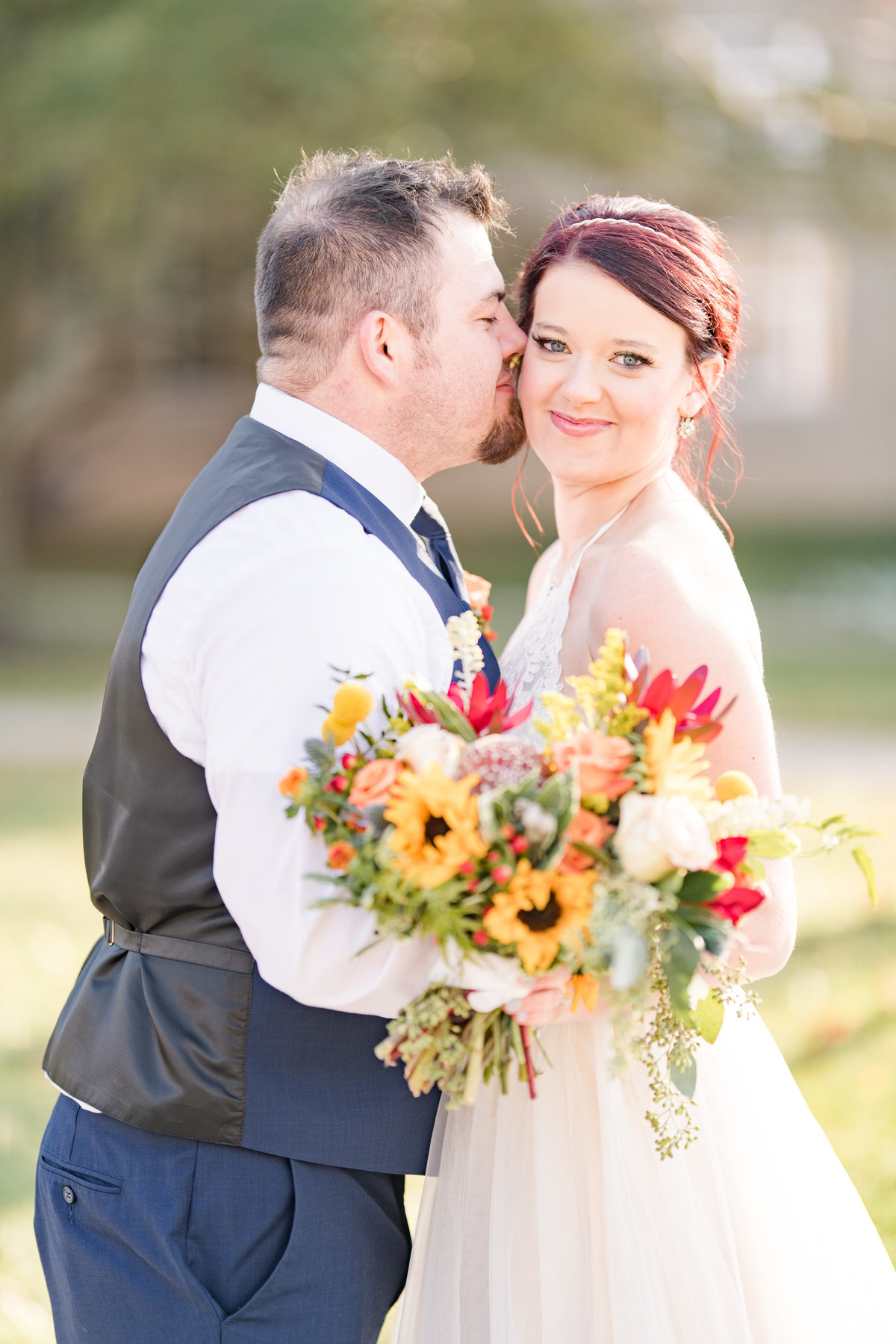 Couple Portraits Wedding Brewery Cincinnati Ohio Colorful Flowers-73