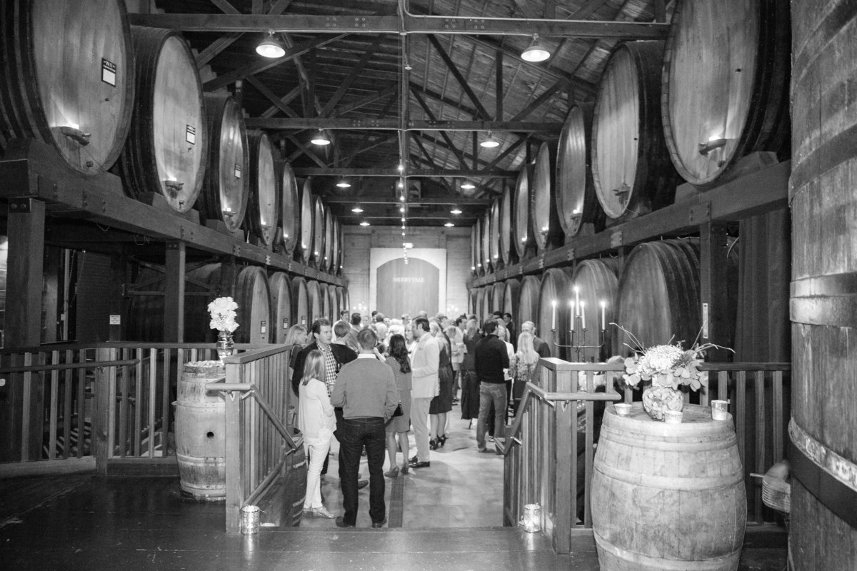 Corporate event at Merryvale barrel room in Yontville, California by Jenny Schneider Events.