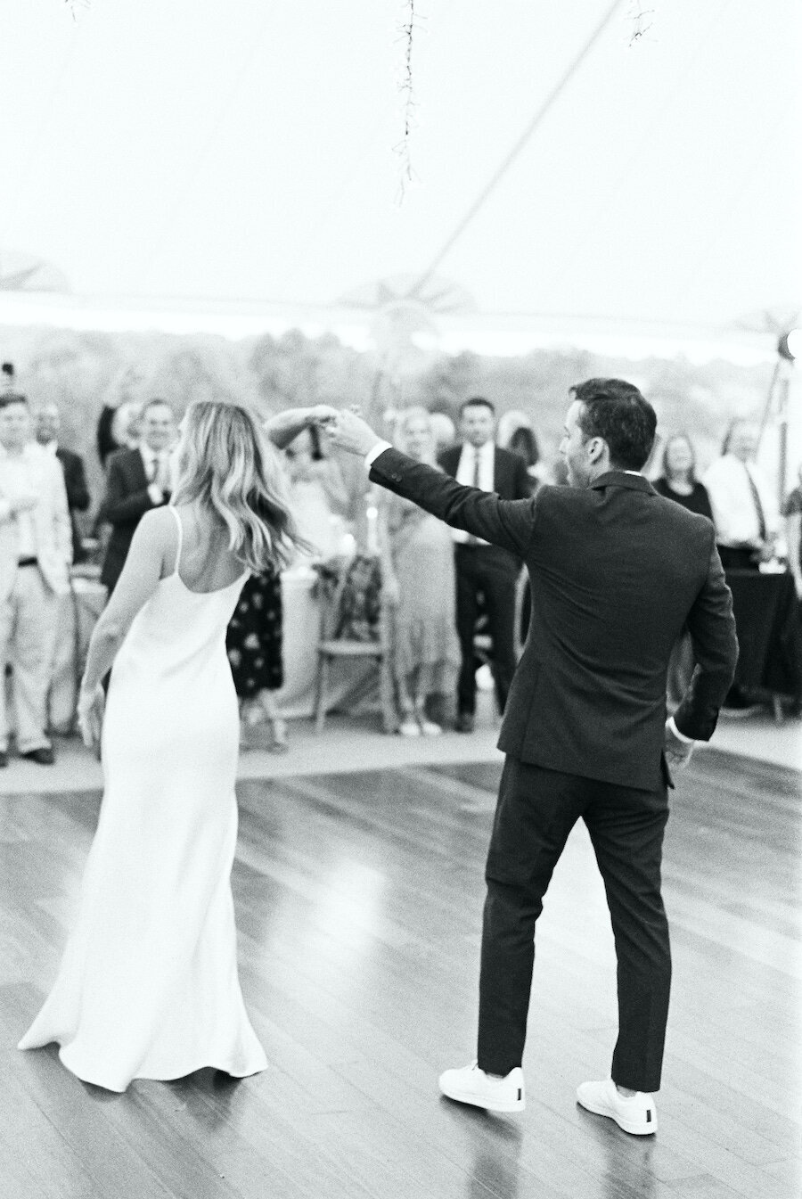 Black and White Wedding Photographer First Dance Robert Aveau for © Bonnie Sen Photography