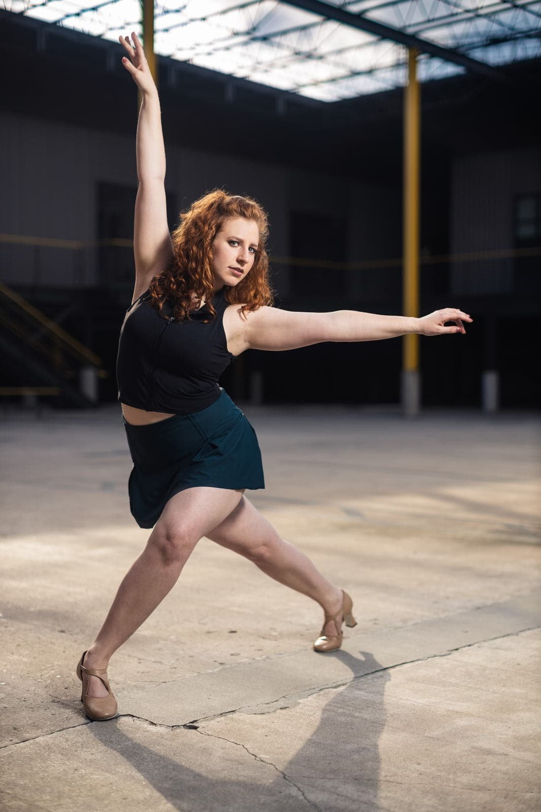 ballet dancer poses in atlanta industrial space