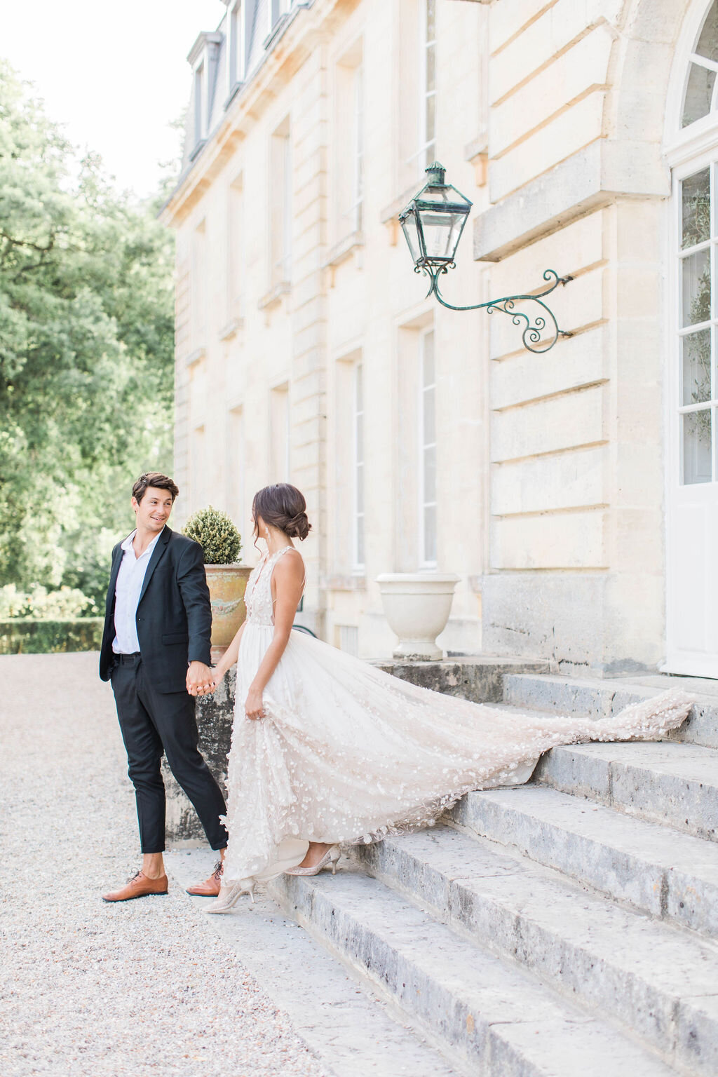 Bride and Groom posed by Paige Michelle Photography during destination wedding in Europe