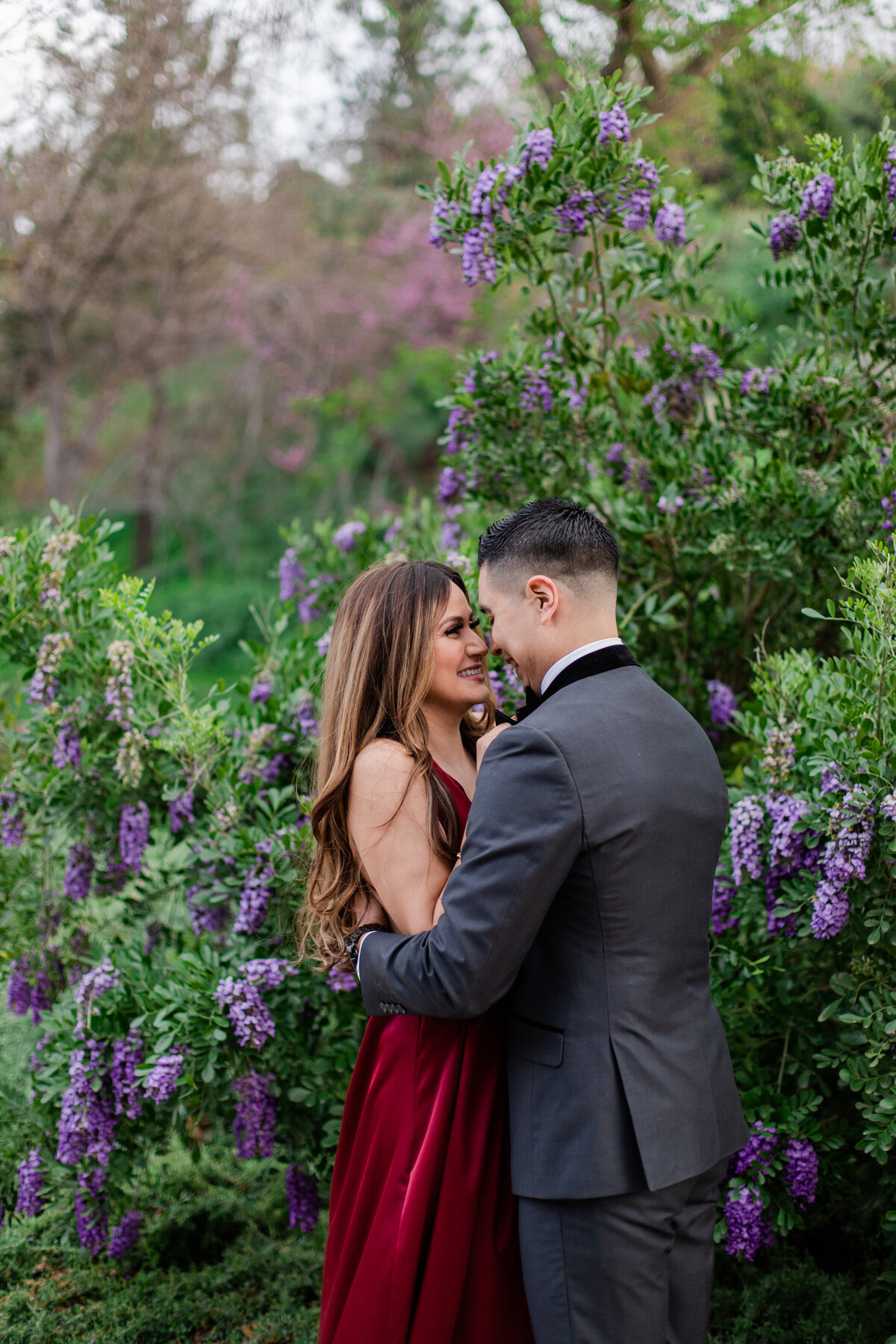 UC Riverside Botanical Gardens, Engagement Photography, Riverside Phototgrapher, Garden Engagement, Couple Photography, Red Dress-90
