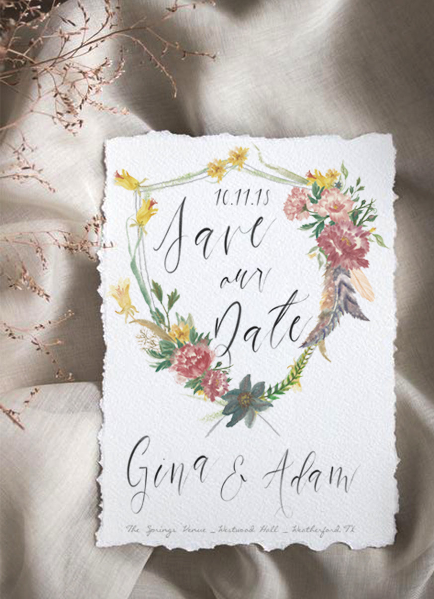 Gina-Save-The-Date-Deckled Edge Paper Preview