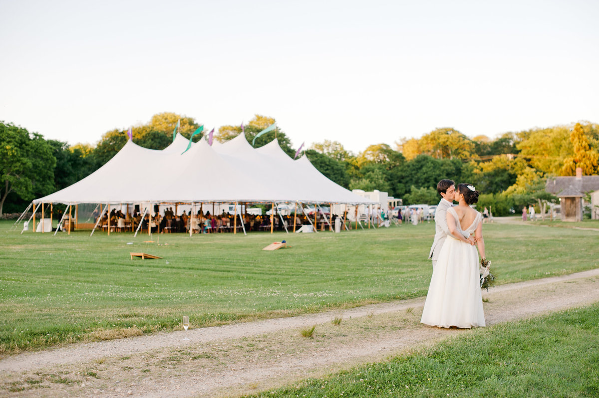 Bourne Farm tented wedding bride and groom