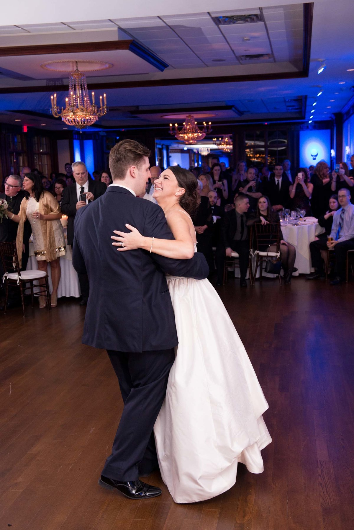 Bride and groom slow dancing at The Mansion at Oyster Bay