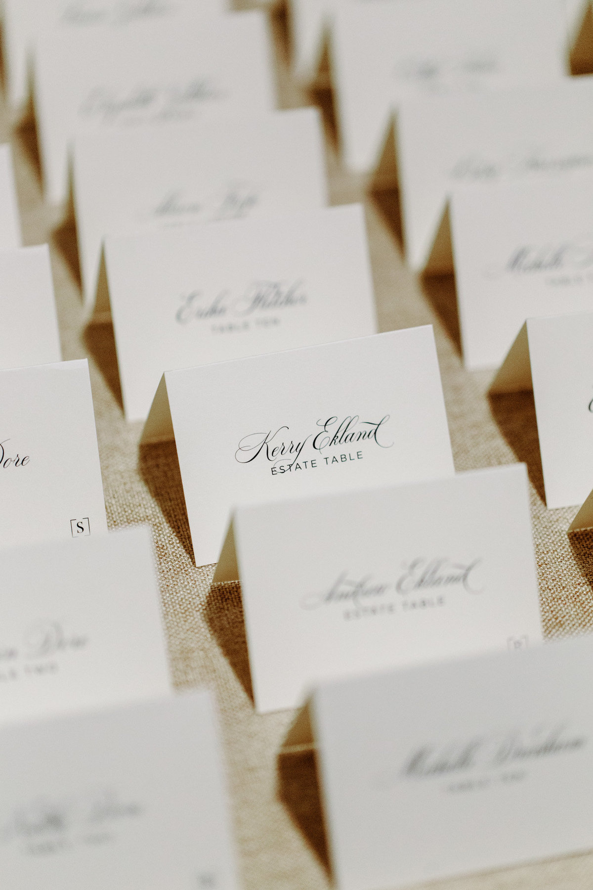 These name place cards are the perfect compliment to an elegant wedding table setting.  Photo by Biltmore Ballrooms wedding photographer Rebecca Cerasani.