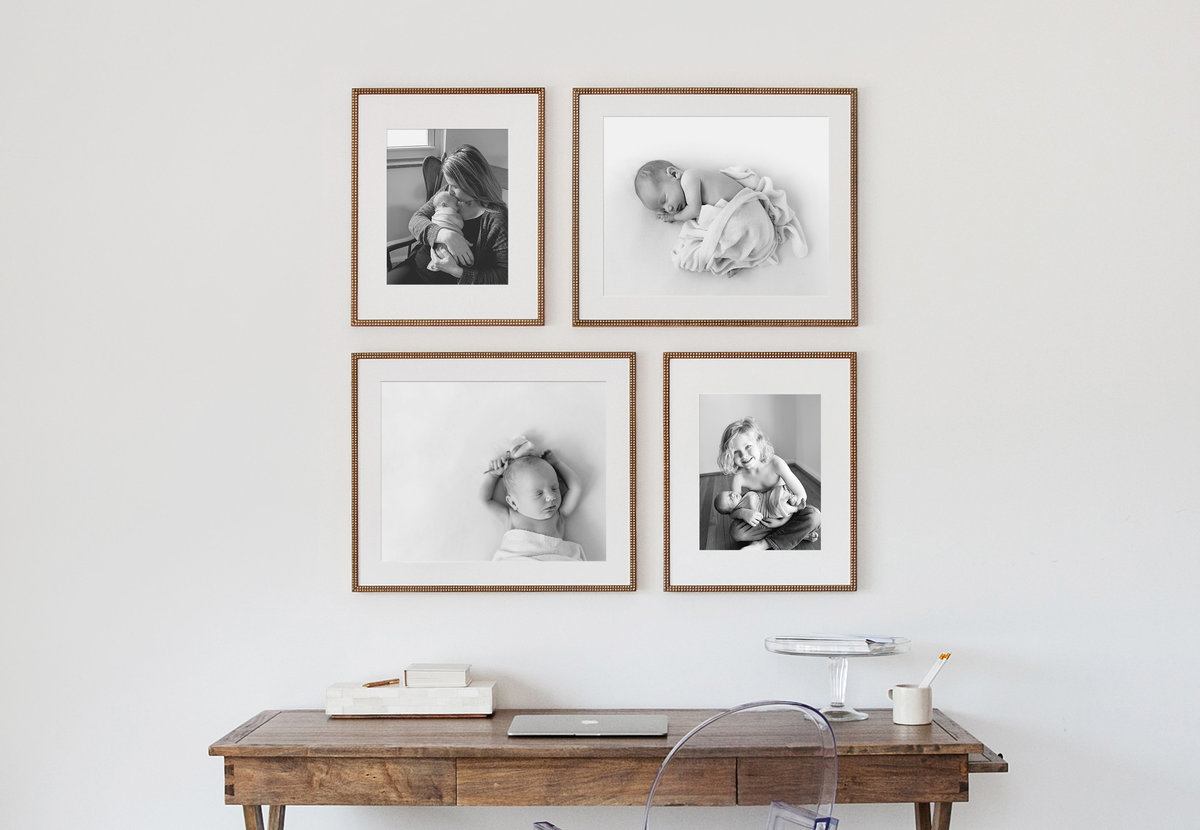Framed photos of baby gallery wall