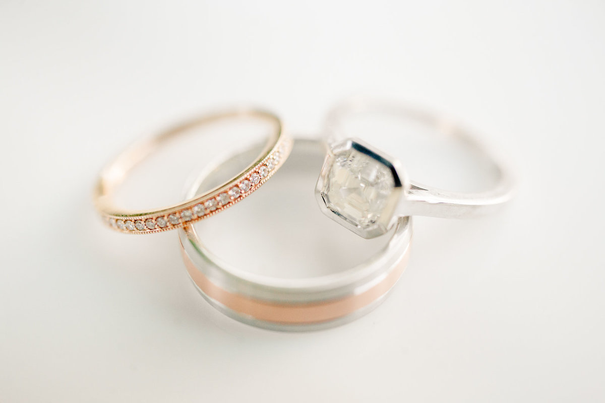 copper and white gold wedding rings on a white background wedding details