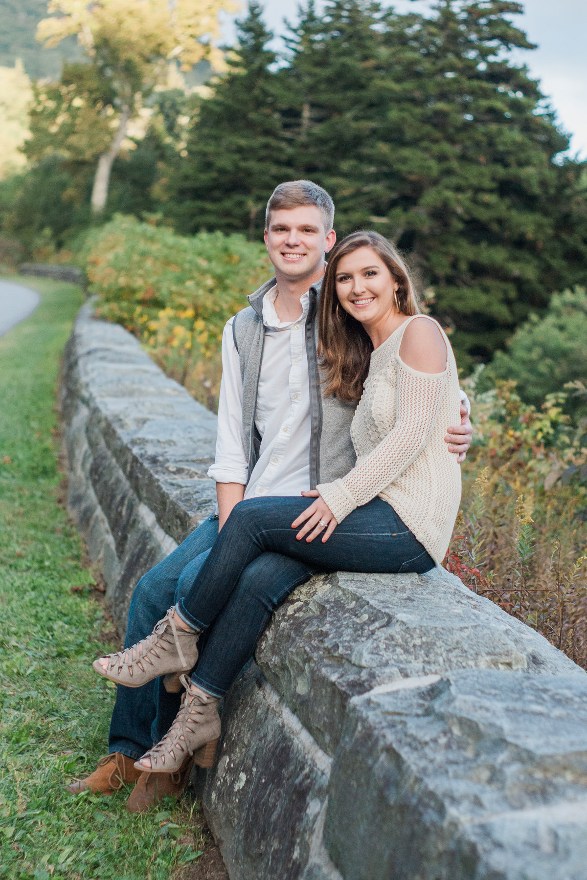 Adventurous Blue Ridge Parkway engagement session photographed at Rough Ridge by Boone Engagement Photographer Wayfaring Wanderer.