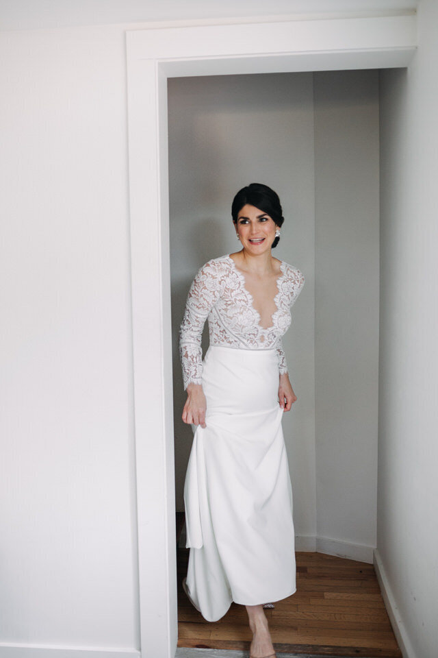 Bride in Sarah Seven Gown Arnold House Livingston Manor Wedding Catskills Wedding Planner Canvas Weddings