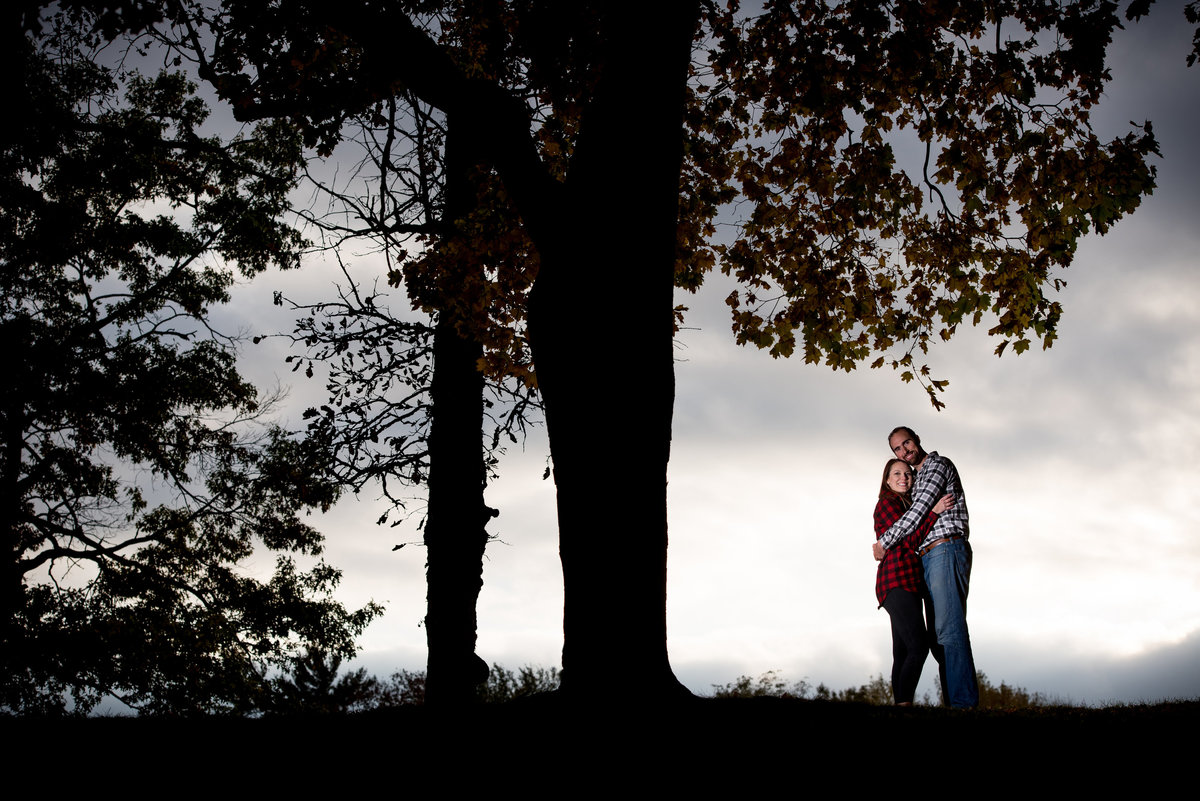 engagement-portrait-agaisnt-a-dark-sky-at-Lords-Park-Elgin-Illinois-with-silhouetted-trees