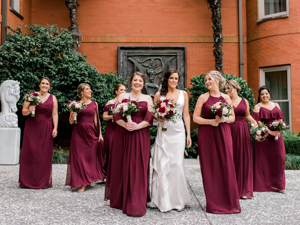 Bride and bridesmaids  Forsyth Park The Mansion Savannah