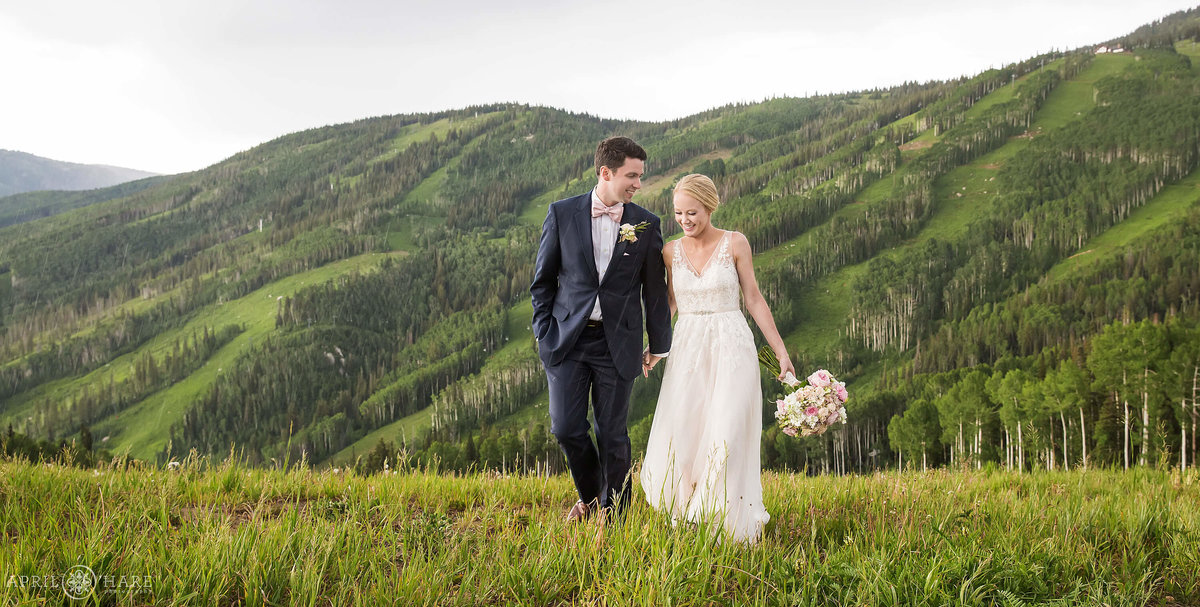 Pretty Steamboat Springs Colorado Summer Wedding on Mount Werner with Ski Slope Backdrop
