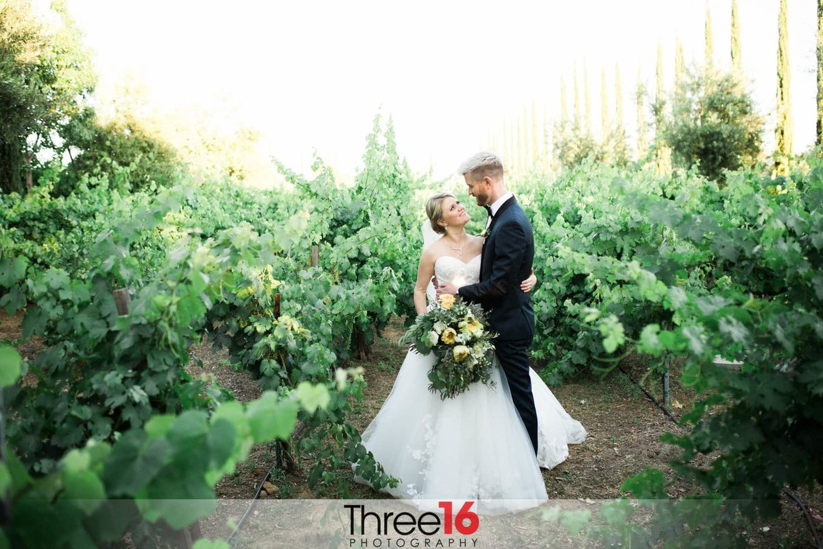 Intimate moment for the new couple at Mount Palomar Winery