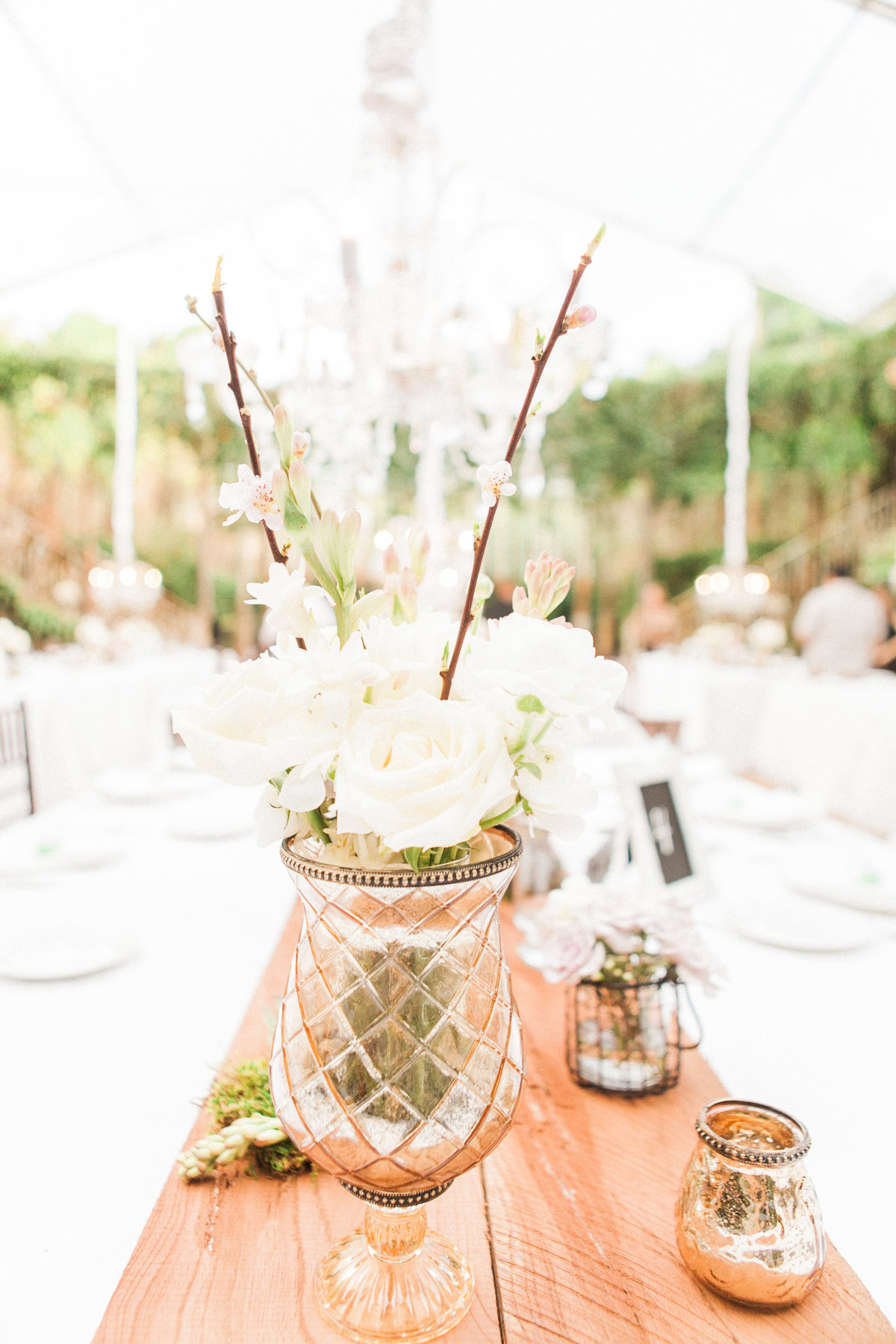 French Rustic Wedding Reception Florals