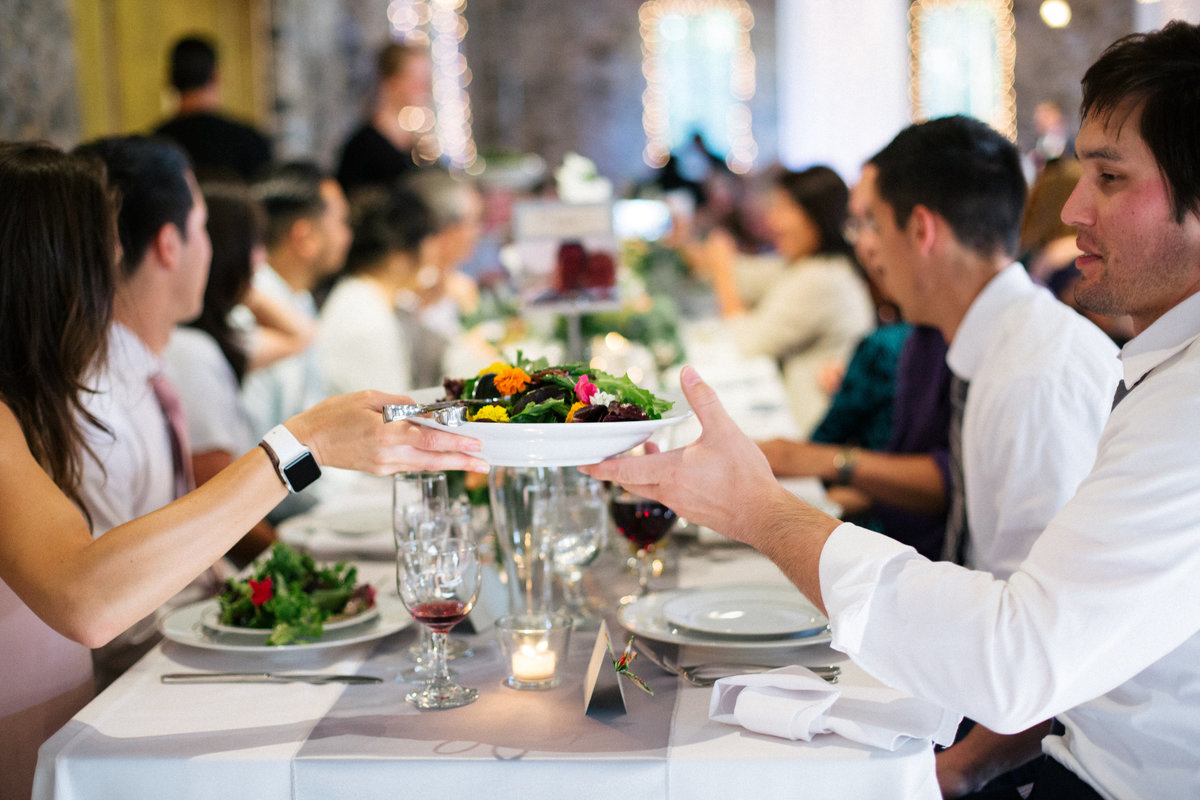 Family style wedding dining