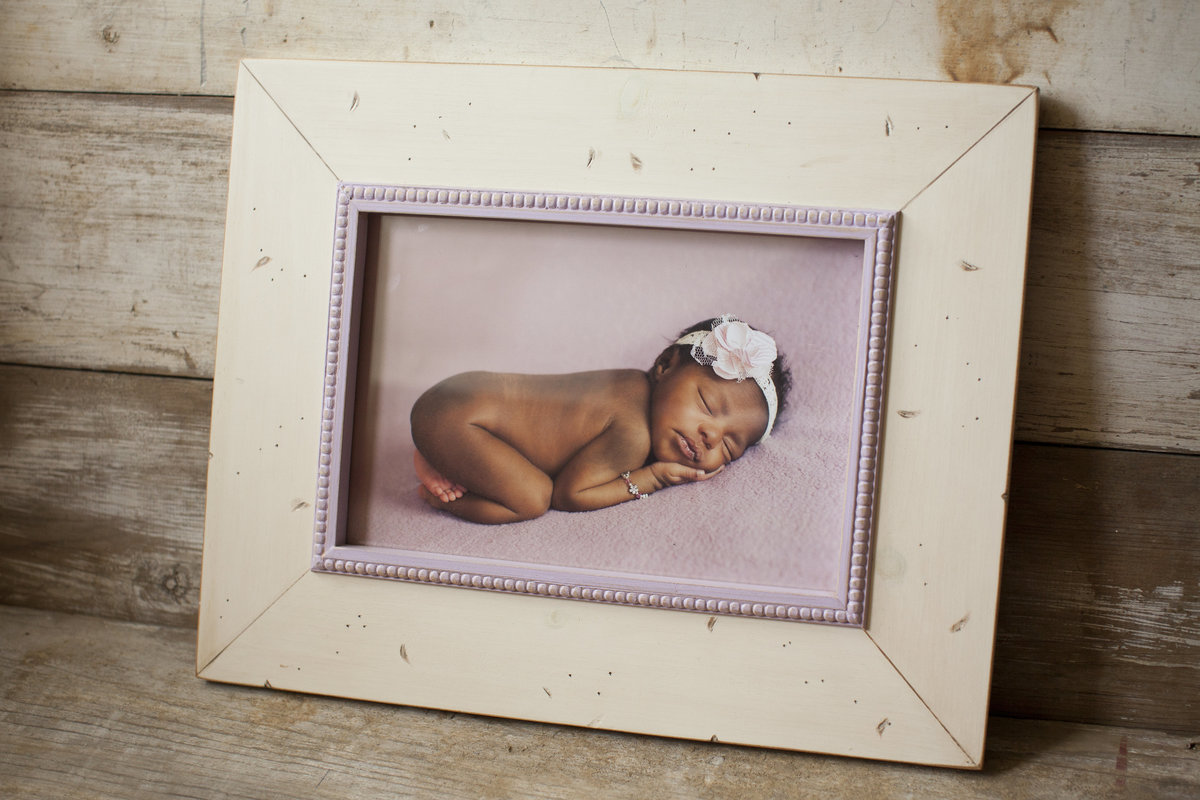 custom frame with white and pink