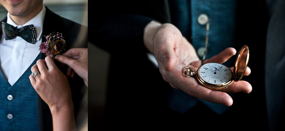 Groom's Details with Gold Pocket Watch, Washington DC