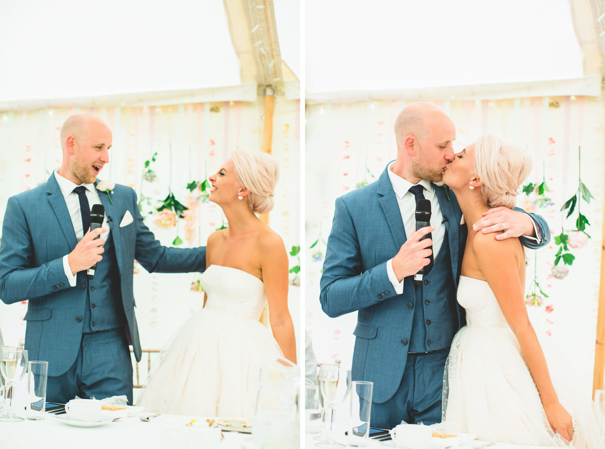 bride gives his speech to the groom and kisses her