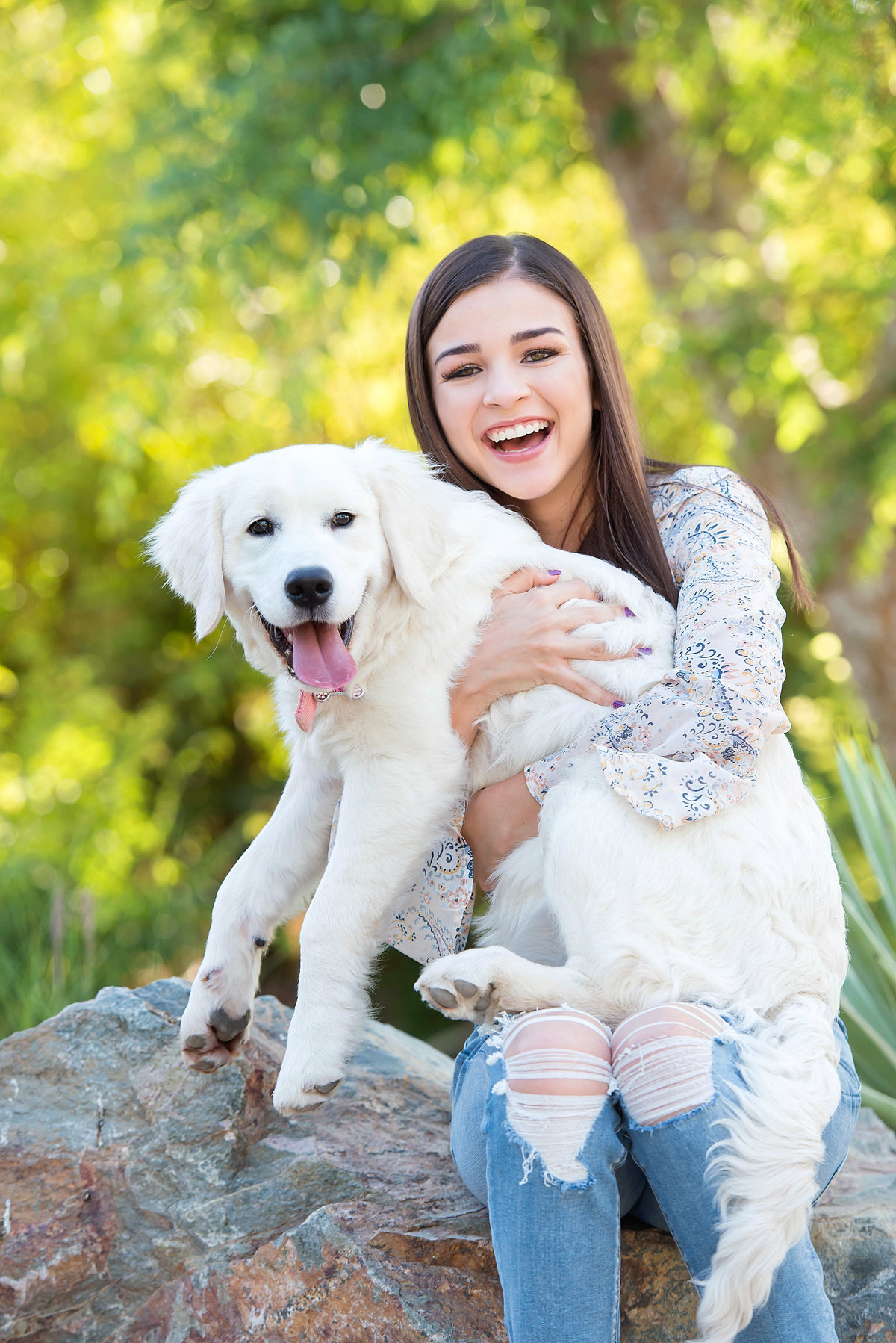 senior portrait with dog