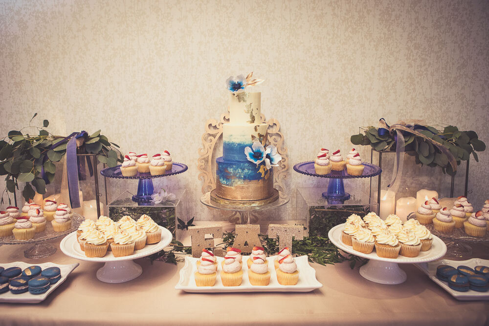 navy blue and gold sweets table, Hamilton ON sweet tables