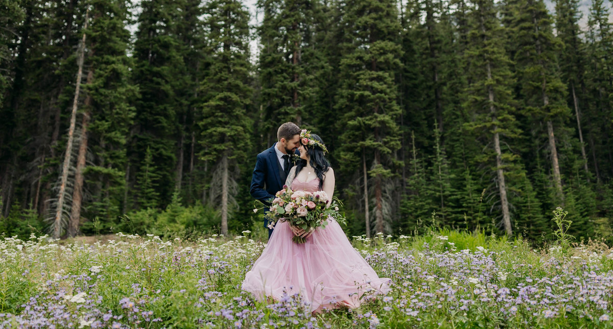 moraine lake mountain woodland wildflower elopement