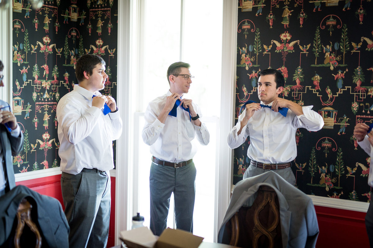 groom and groomsmen getting ready before wedding ceremony in San Antonio Texas Grace Point Church venue