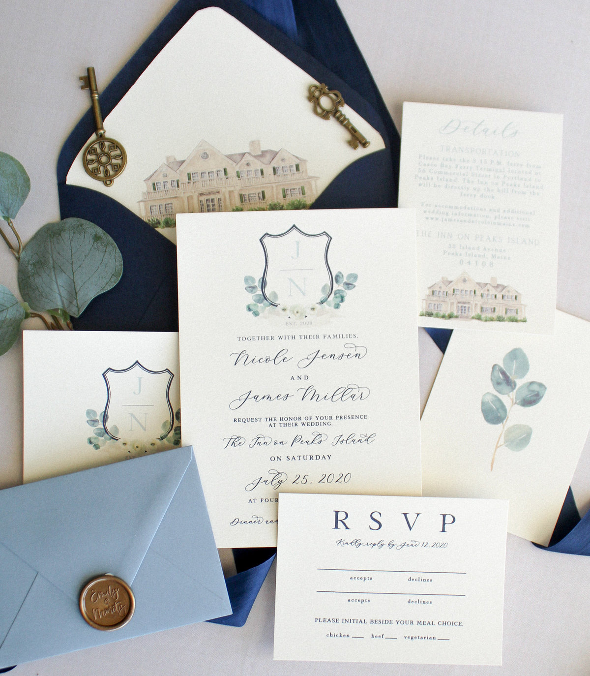 Custom Crest Wedding Invitations New England