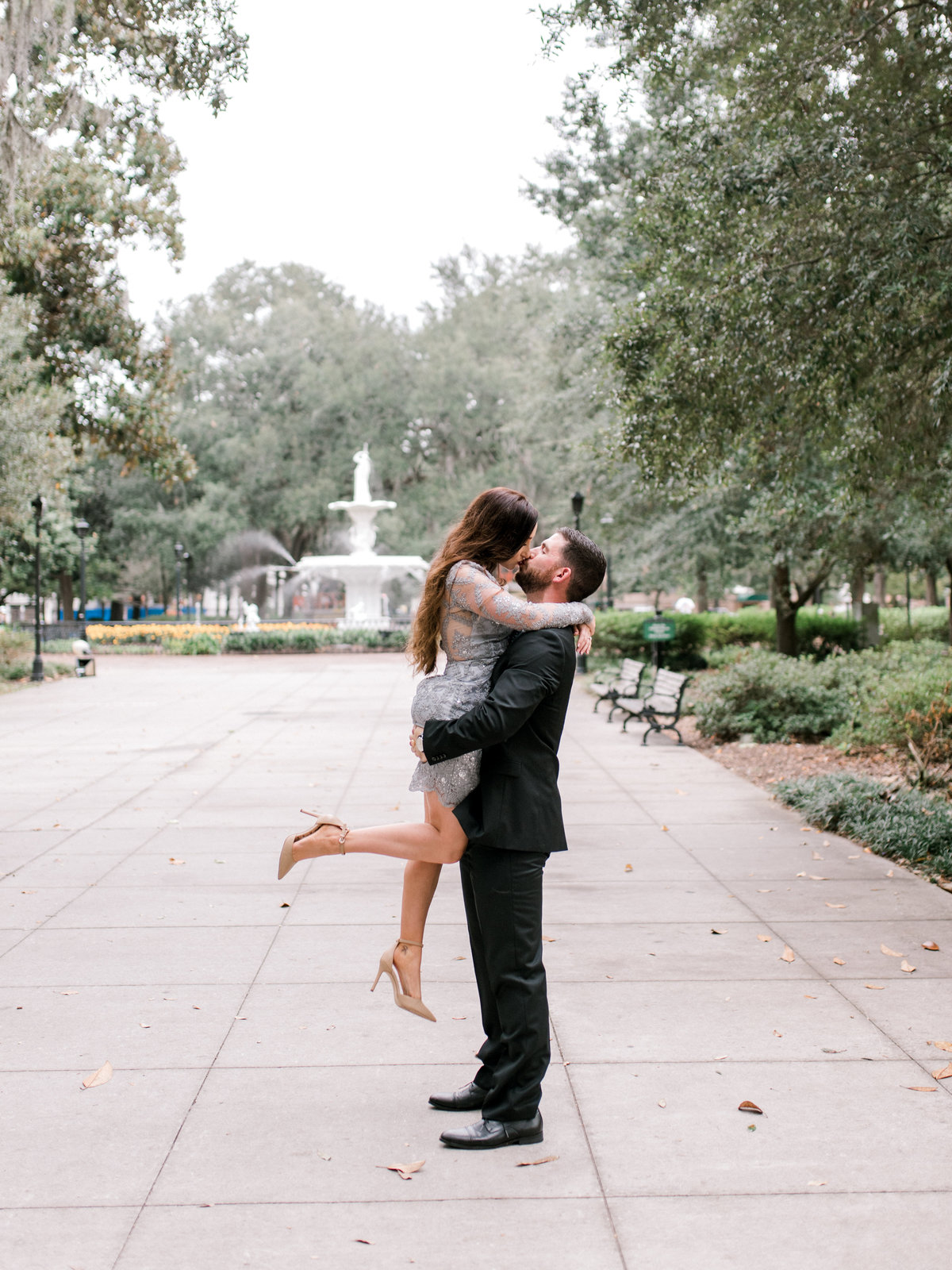 Destination engagement session Forsyth Park Fountain