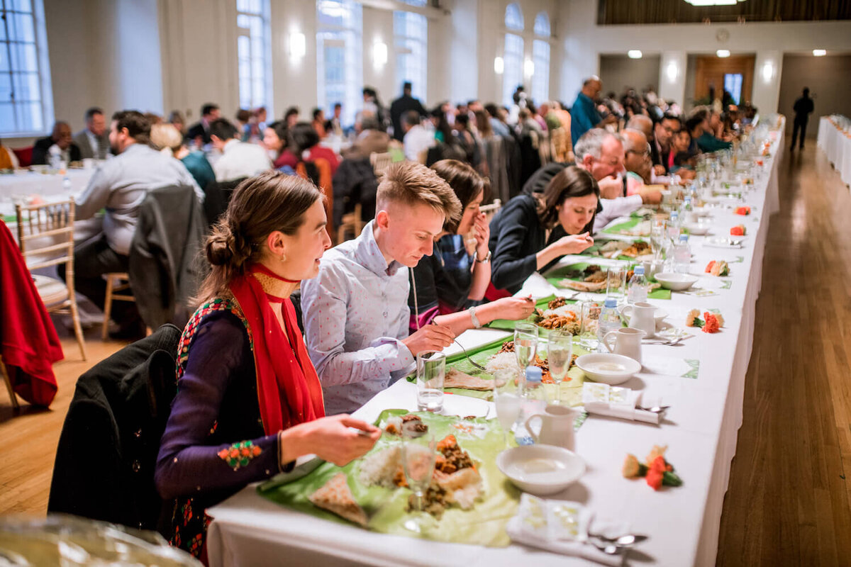 Guests eating at an event