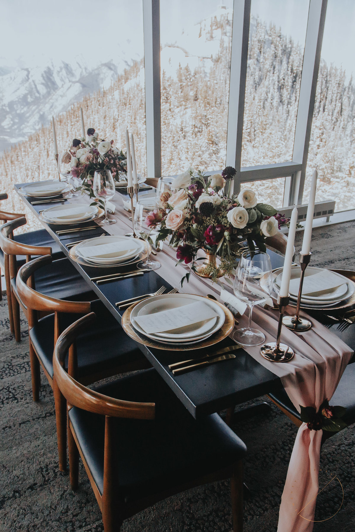 Table setting by Moments by Madeleine in Sky Bistro at Banff Gondola, taken by top Banff Wedding Photographer Lindsay Copeland of Twenty Twenty Photography
