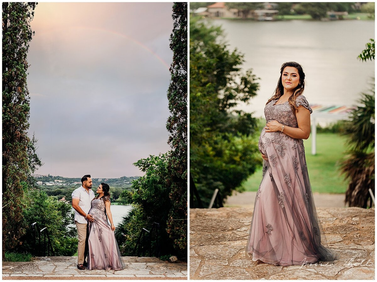 pregnancy photo session at laguna gloria with husband and wife and rainbow in the sky