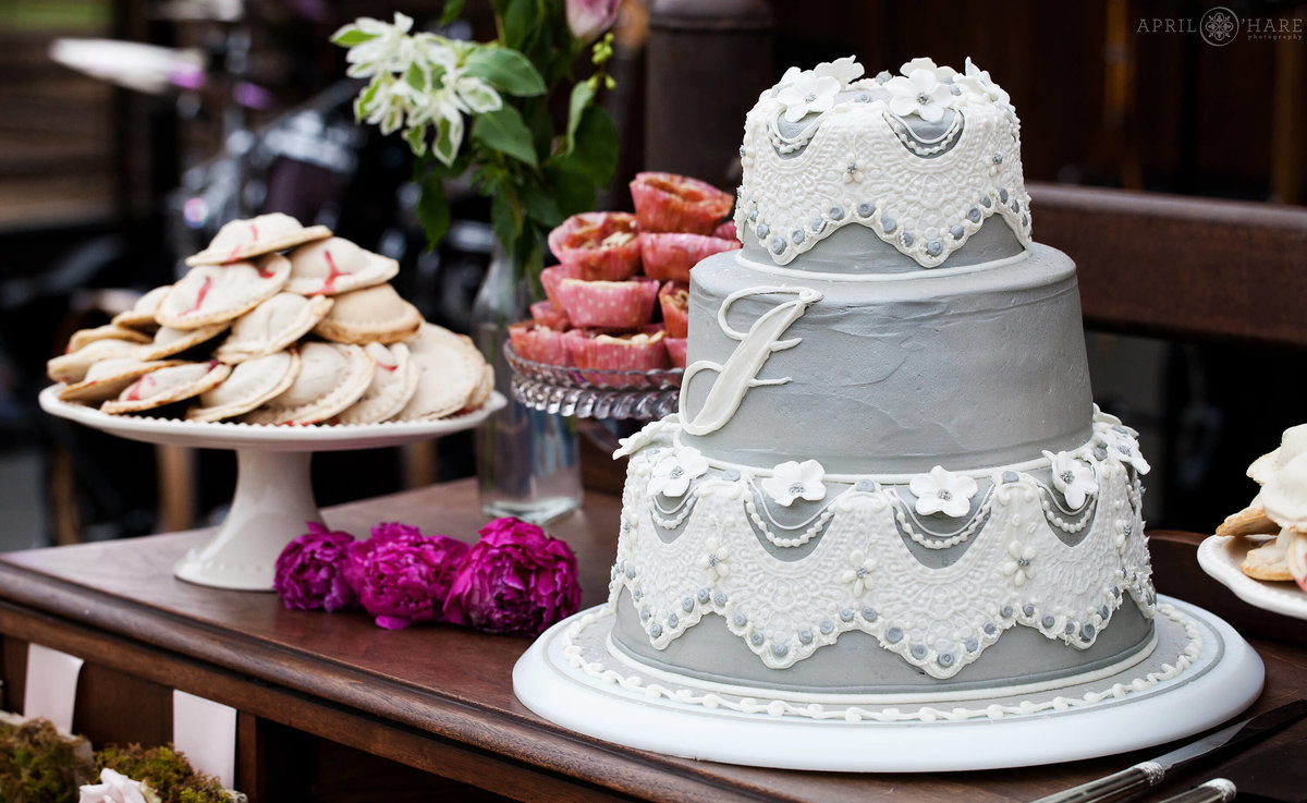 Cute Colorado Country Farm Wedding in Boulder with gray cake with white lace icing
