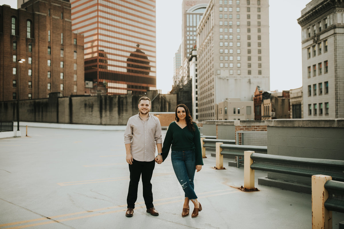 Engagement photo in Downtown Pittsburgh by Oakwood Photo.