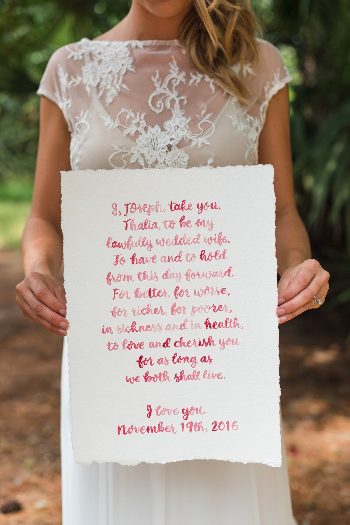 wedding vows brush calligraphy burgundy