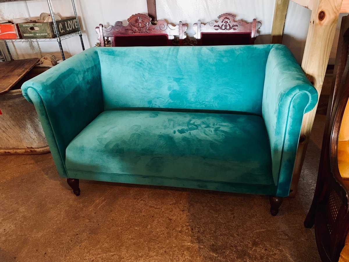 teal velvet loveseat