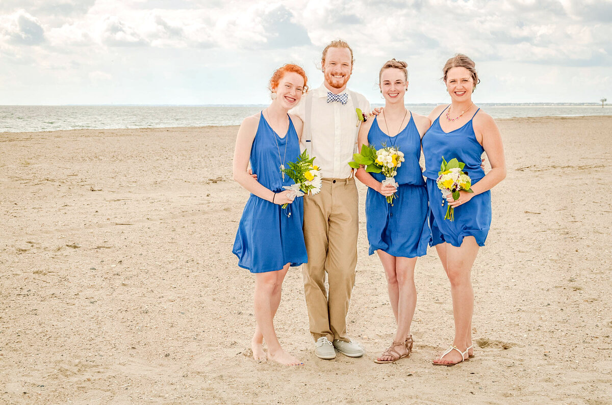 Bald Head Island Wedding Photography - Anna and Ray - Groom and Bridesmaids - Wilmington Photographers Team