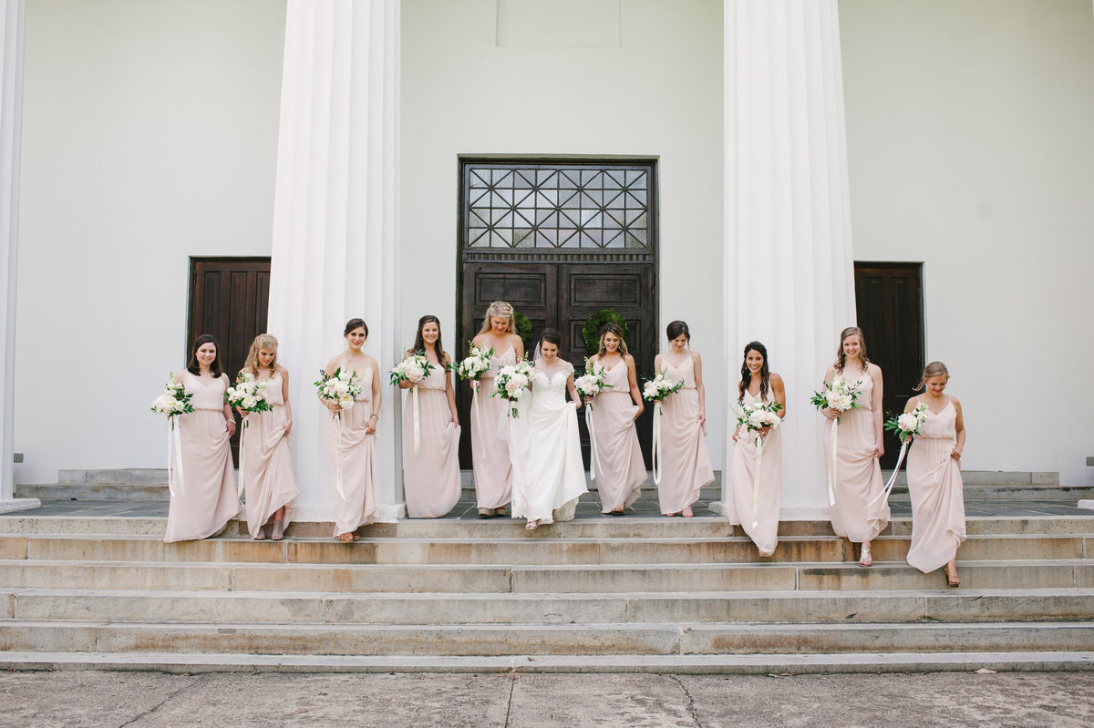 Bridesmaids Walking at UGA Chapel Athens