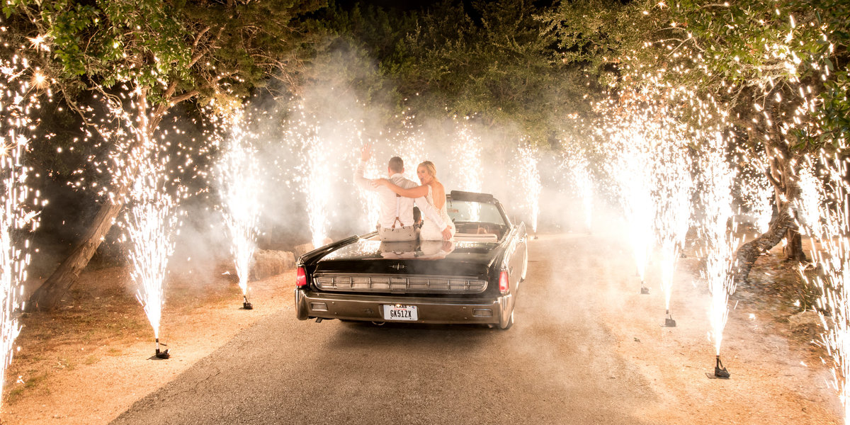 terrace club wedding photographer firework sendoff classic car bride groom convertible 2600 US-290, Dripping Springs, TX 78620