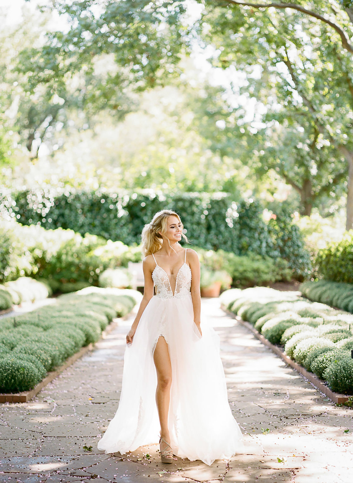 bride blonde wedding dress Dallas arboretum
