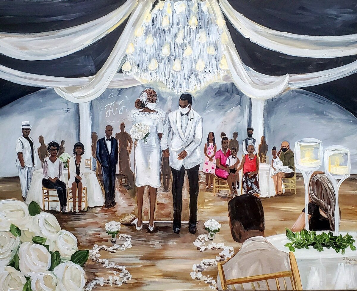 Live wedding painting of a bride and groom jumping the broom in Indianapolis Indiana
