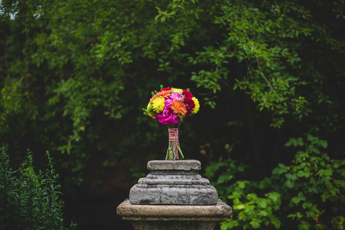 a multi coloured bouquet standing up