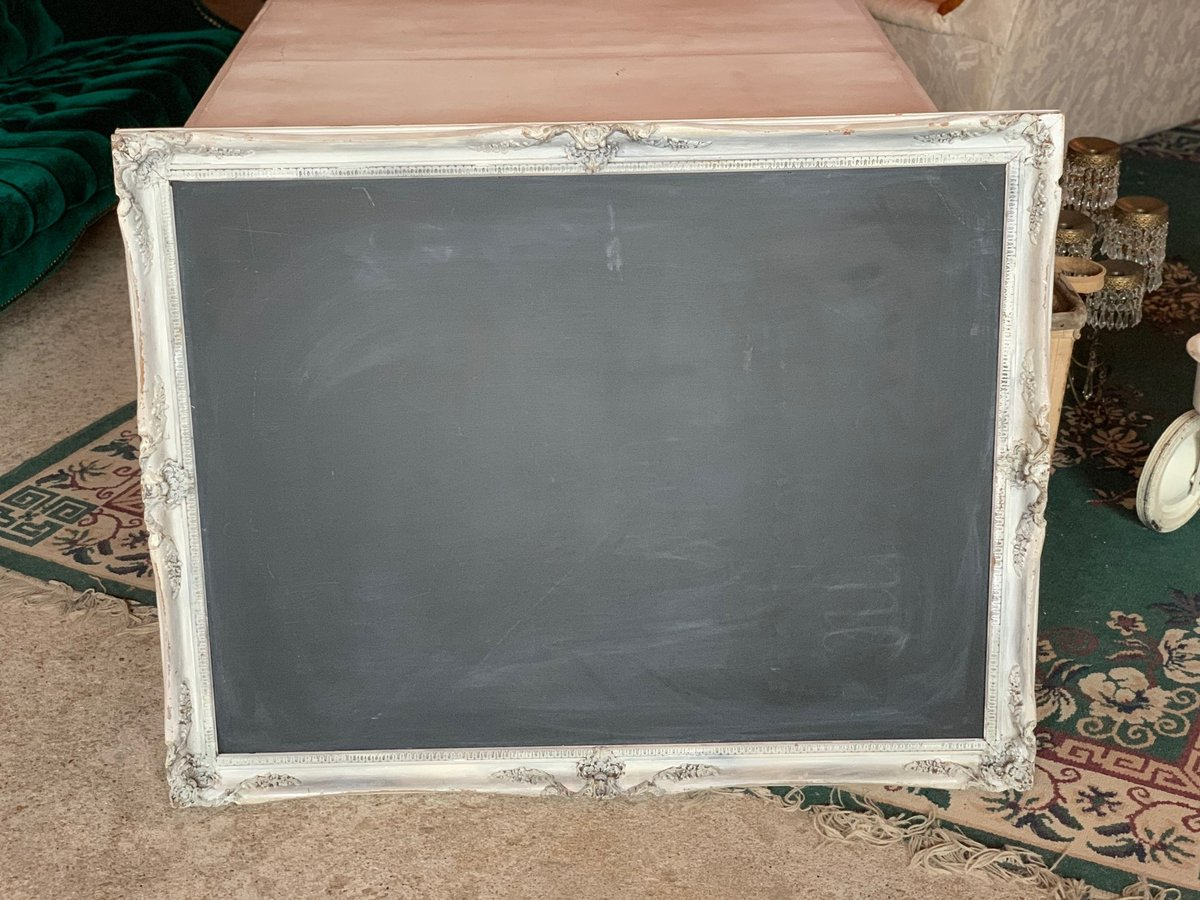 white antique frame chalkboard
