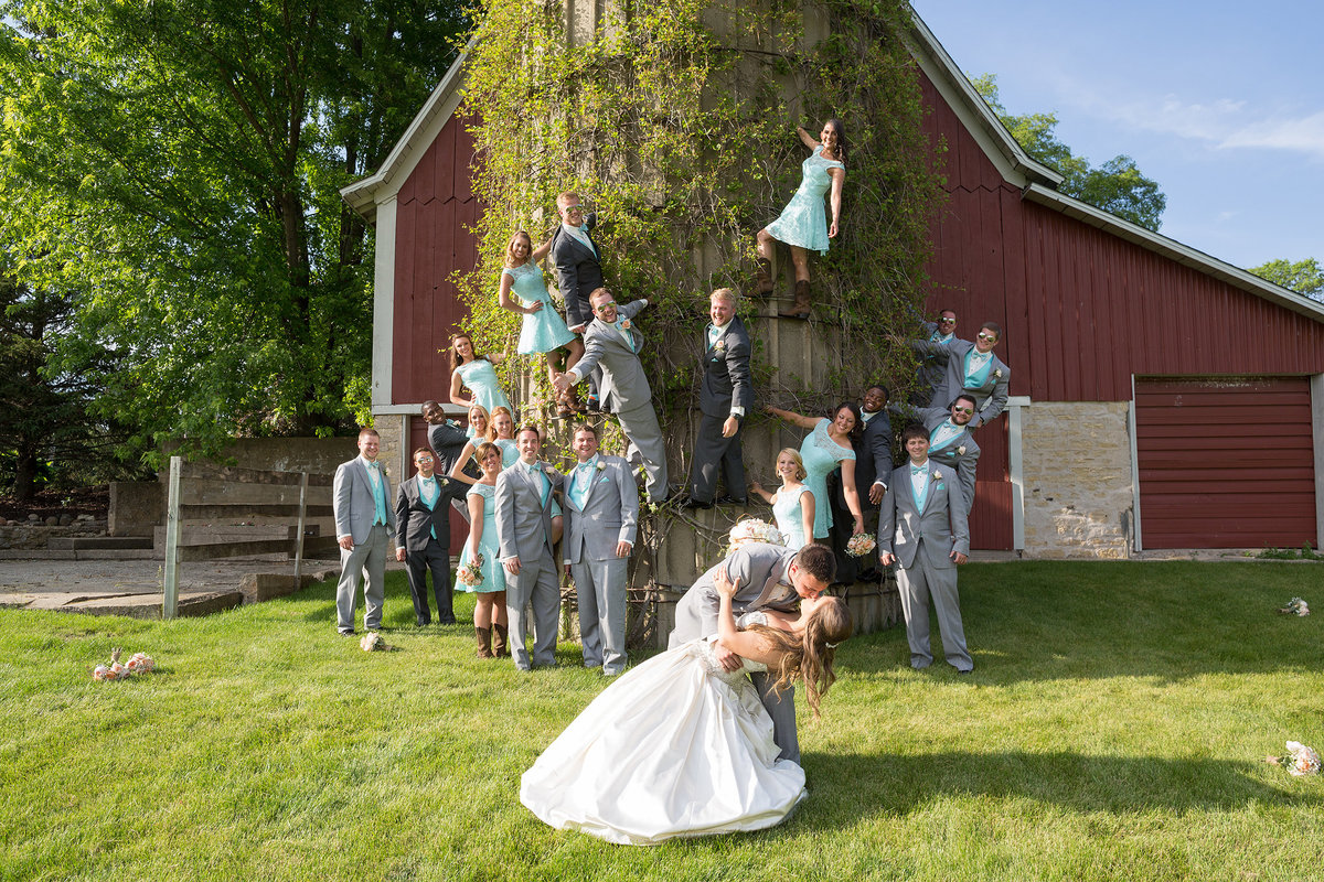 crazy bridal party climbing a silo