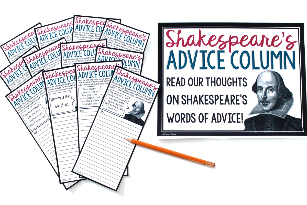 Shakespeare advice assignment where students examine whether advice from Shakespeare is still relevant today.