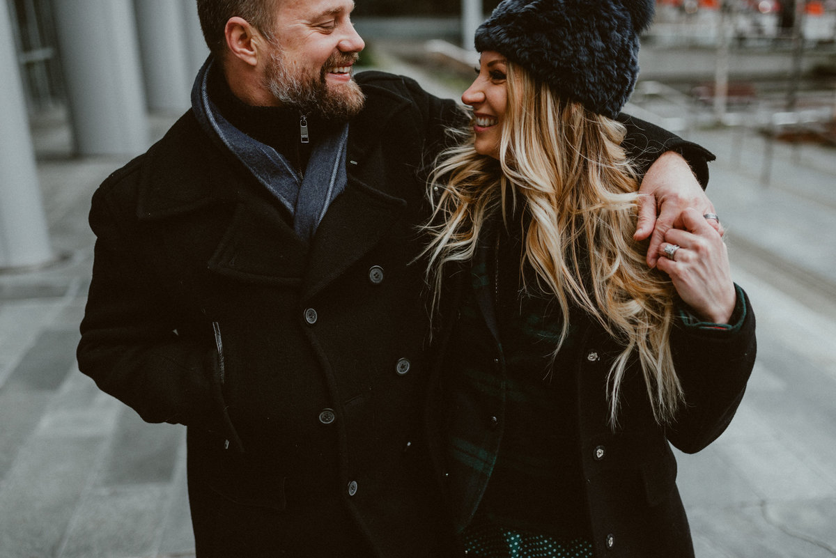 Downtown Seattle Urban City Winter Engagement Session  Chelsea Abril Photography