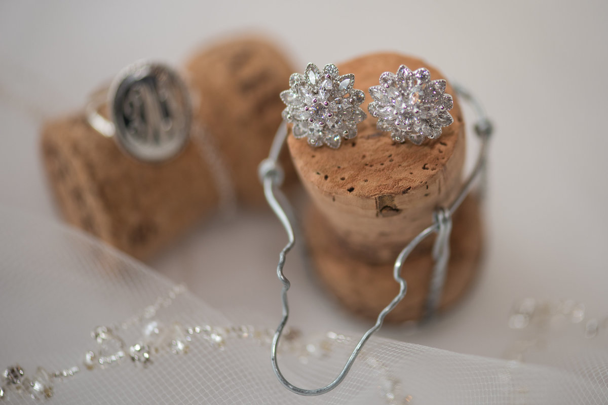 Jimbo's Club at The Point, Brant Lake, NY, diamond earring and initial ring, champagne corks, tulle veil
