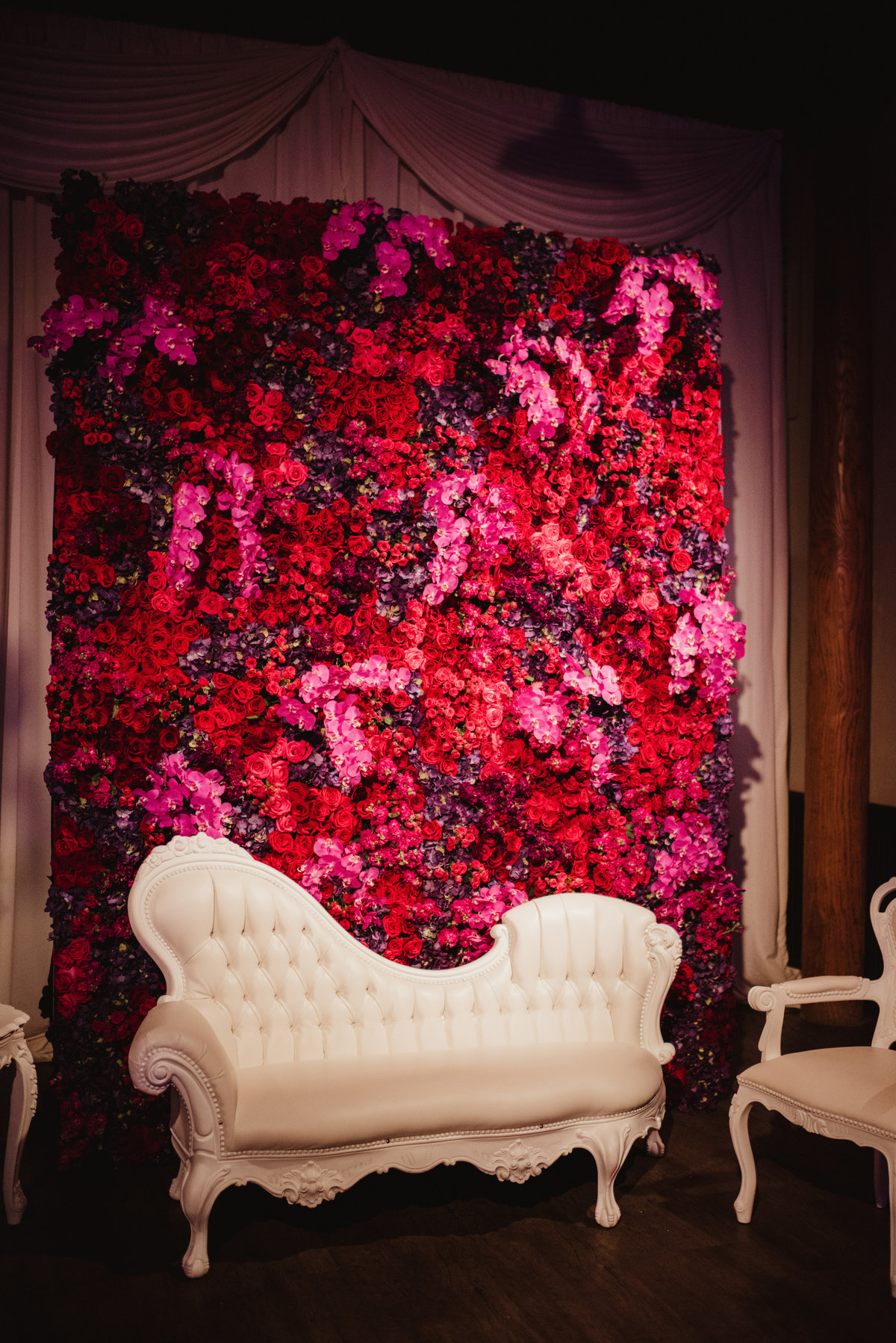 floral backdrop, lounge furniture, reception decor